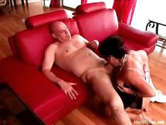 Brunette cougar DeBella eats his old dick and takes it in her juicy twat
