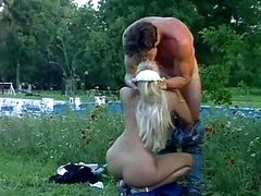 Hot Blonde Maid Gets An Outdoor Garden Fucking