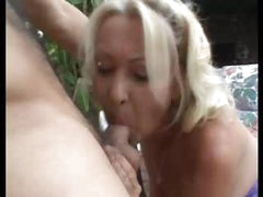 Granny And Young Man Outdoor Fun
