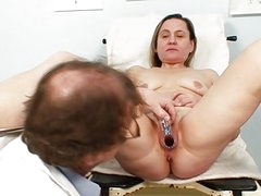 Classy blonde bitch gets her hairy twat examined
