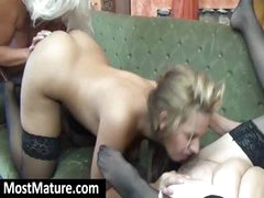 Two horny grannies have a hot lesbian threesome with a young brunette