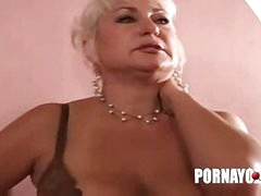 Old fat milf gives blowjob and fucks for facial