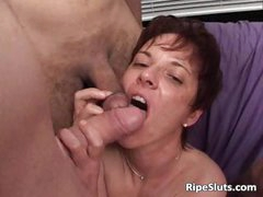Horny MILF gets fucked by two hard cocks part1