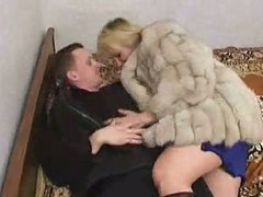 Russian boy fucking a mature in fur