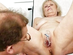 Mature old Brigita getting pussy exam from experie