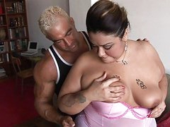 Muscled hunk slamms hot chubby brunette with tattoo