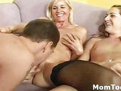 Lucky guy finger fucks busty mom and her horny daughter then