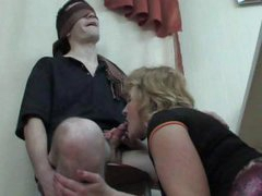 Greasy hot numbers with easy four-lipped man eaters have some fun with a blind folded guy