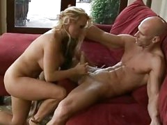 Busty blonde milf in high heels rides on muscled bald stud