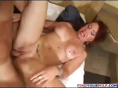 Busty redhead mom goes for son's friend and gets fingered and nailed