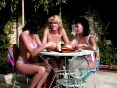 Vintage lesbian action with three gals sharing the love and the toys