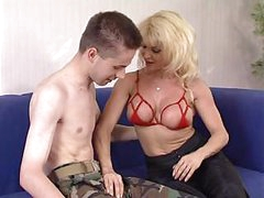 Mature Woman Donna Checks Young Soldier s Skills