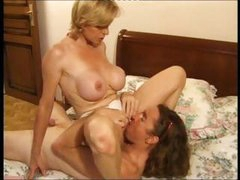 Busty mature blonde and younger dude trade head and pound the ass