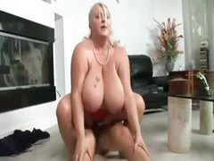 Chubby large breasted blonde chews on a cock before getting banging ride