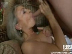 Mature blonde gets young man to eat her pussy and bang her