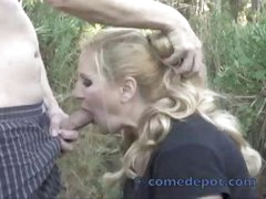 Chubby blonde hottie gets some dick out in the midst of nature
