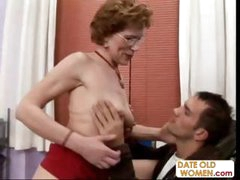 Old brunette granny talks her way into his office to fuck him