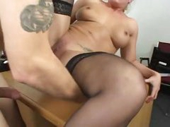 Sexy nympho office slut seduces her boss into inseminating her cunt