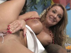 Janet Mason cunt oozing with cum after the black drill