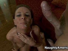 Super hot Sara Bricks gets a warm load of cum shot in her mouth
