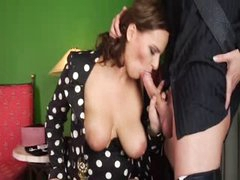 Boy cum twice in her sexy mom